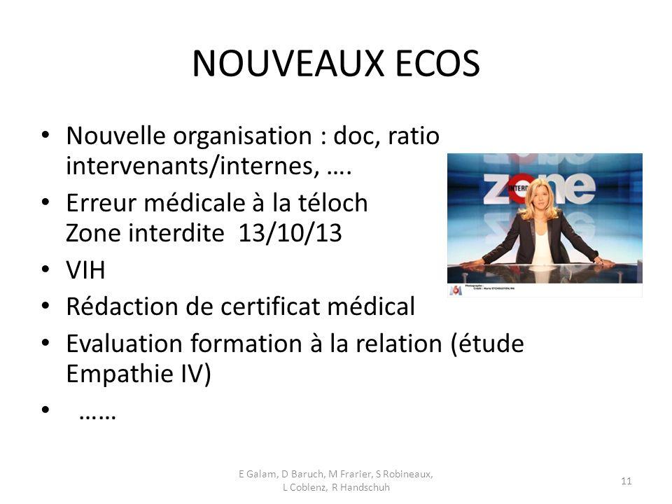 NOUVEAUX ECOS Nouvelle organisation : doc, ratio intervenants/internes, ….