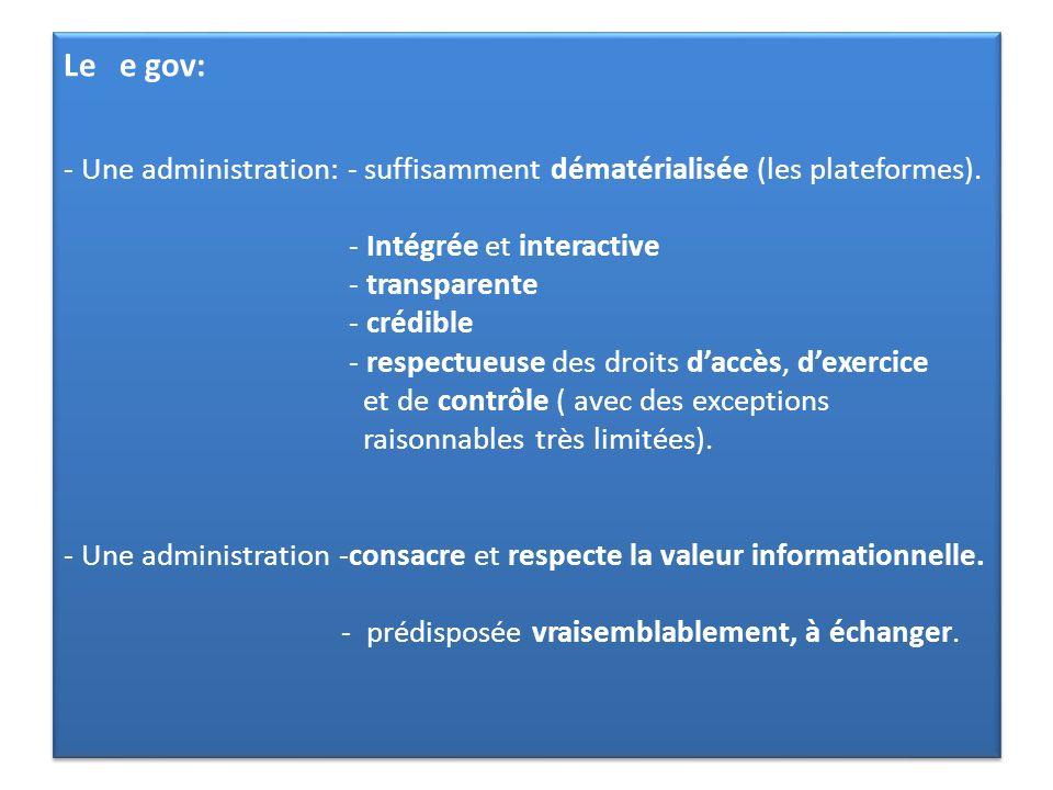 Le e gov: - Une administration: - suffisamment dématérialisée (les plateformes). - Intégrée et interactive - transparente - crédible - respectueuse de