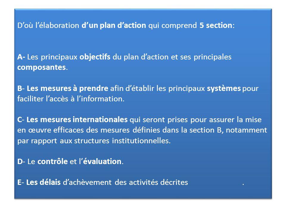 Doù lélaboration dun plan daction qui comprend 5 section: A- Les principaux objectifs du plan daction et ses principales composantes. B- Les mesures à