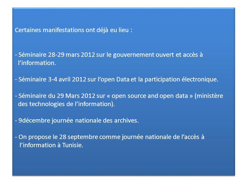 Certaines manifestations ont déjà eu lieu : - Séminaire 28-29 mars 2012 sur le gouvernement ouvert et accès à linformation. - Séminaire 3-4 avril 2012