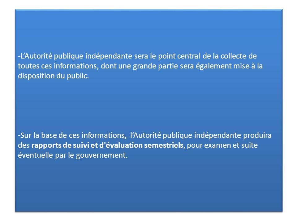-LAutorité publique indépendante sera le point central de la collecte de toutes ces informations, dont une grande partie sera également mise à la disp