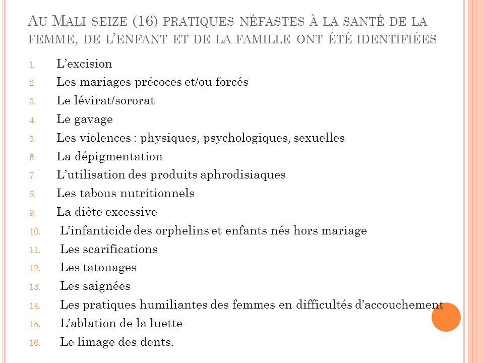 A U M ALI SEIZE (16) PRATIQUES NÉFASTES À LA SANTÉ DE LA FEMME, DE L ENFANT ET DE LA FAMILLE ONT ÉTÉ IDENTIFIÉES 1.