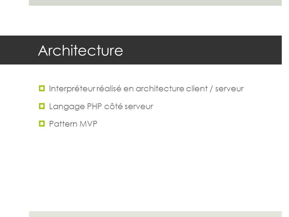 Architecture Interpréteur réalisé en architecture client / serveur Langage PHP côté serveur Pattern MVP