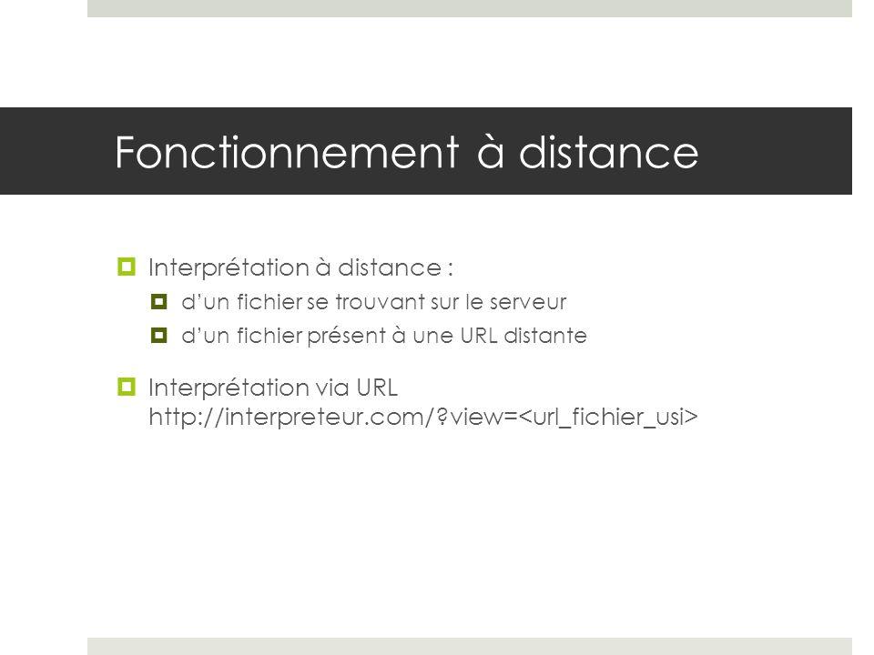 Fonctionnement à distance Interprétation à distance : dun fichier se trouvant sur le serveur dun fichier présent à une URL distante Interprétation via
