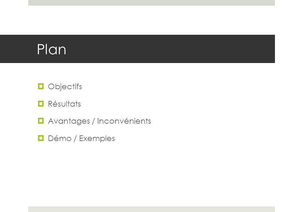 Plan Objectifs Résultats Avantages / Inconvénients Démo / Exemples