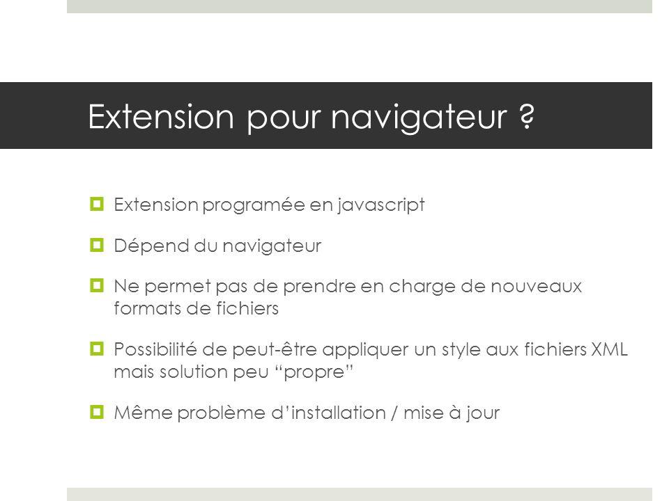 Extension pour navigateur ? Extension programée en javascript Dépend du navigateur Ne permet pas de prendre en charge de nouveaux formats de fichiers