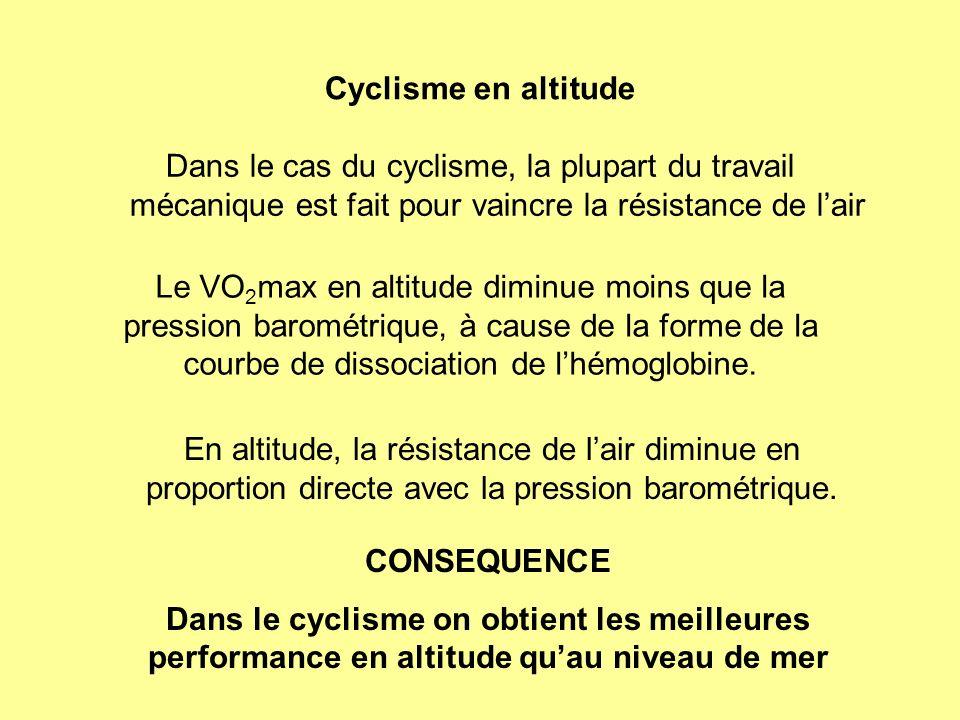 Cyclisme en altitude Dans le cas du cyclisme, la plupart du travail mécanique est fait pour vaincre la résistance de lair CONSEQUENCE Dans le cyclisme