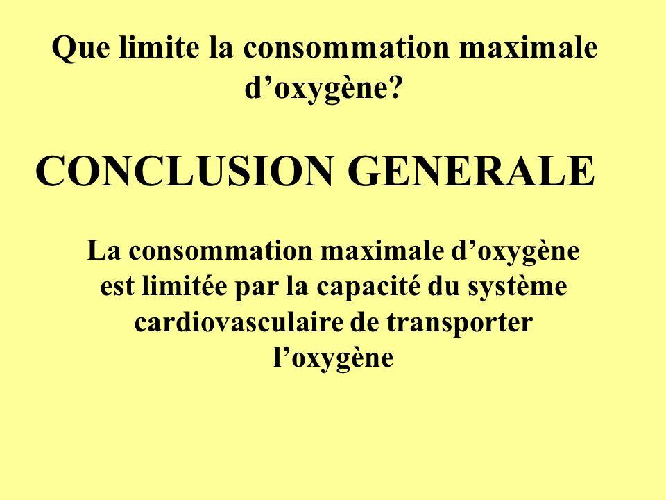 Que limite la consommation maximale doxygène? CONCLUSION GENERALE La consommation maximale doxygène est limitée par la capacité du système cardiovascu