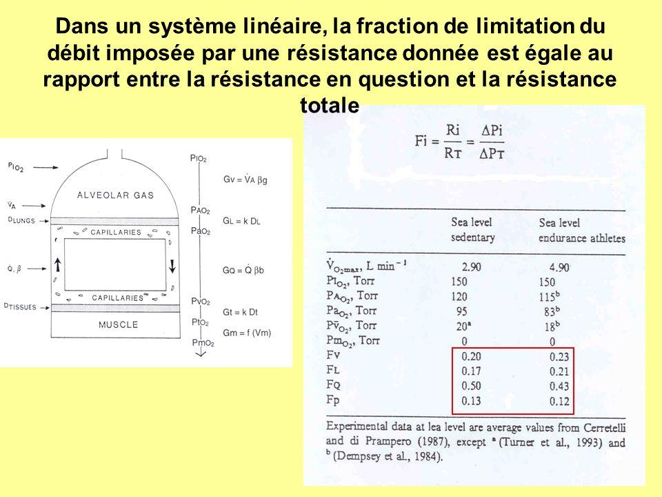 Dans un système linéaire, la fraction de limitation du débit imposée par une résistance donnée est égale au rapport entre la résistance en question et
