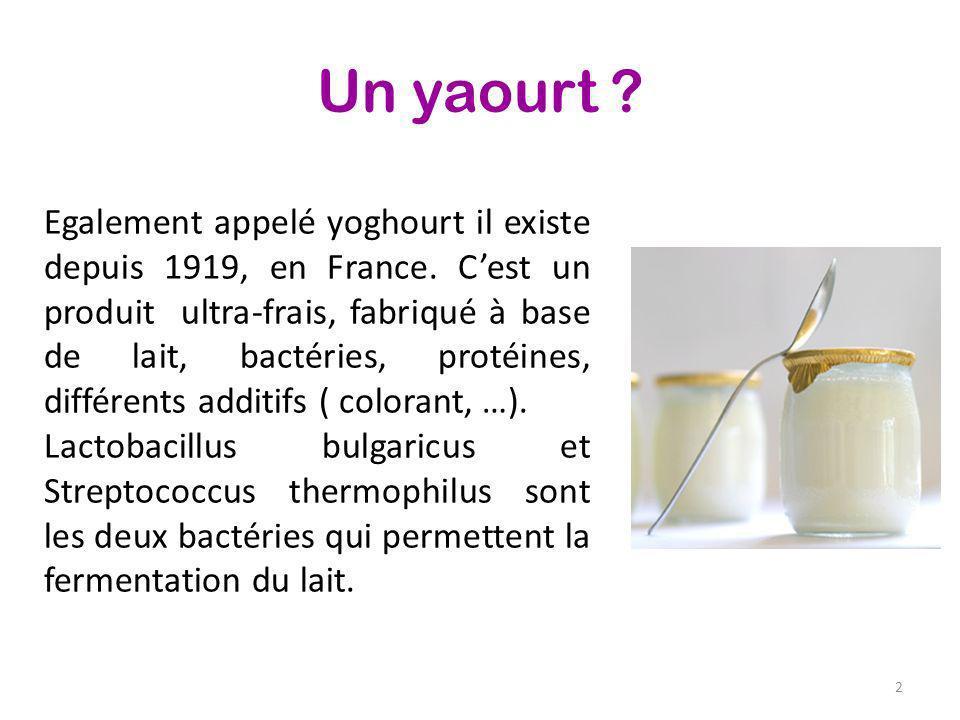 Un yaourt ? Egalement appelé yoghourt il existe depuis 1919, en France. Cest un produit ultra-frais, fabriqué à base de lait, bactéries, protéines, di
