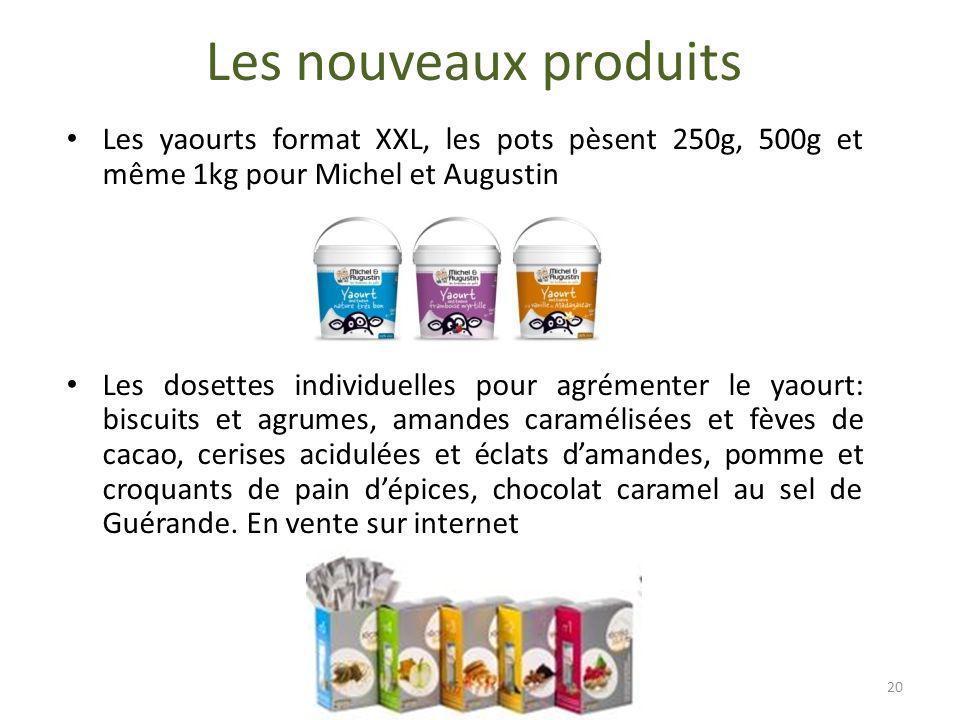 Les nouveaux produits Les yaourts format XXL, les pots pèsent 250g, 500g et même 1kg pour Michel et Augustin Les dosettes individuelles pour agrémente
