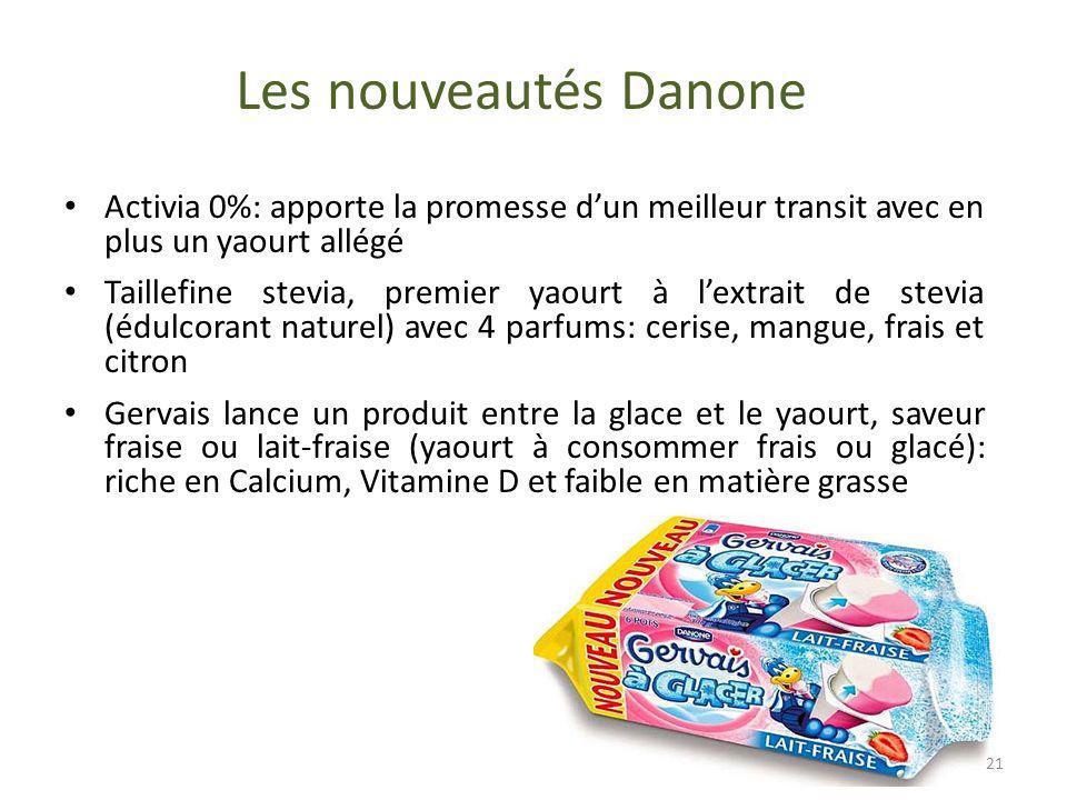 Les nouveautés Danone Activia 0%: apporte la promesse dun meilleur transit avec en plus un yaourt allégé Taillefine stevia, premier yaourt à lextrait