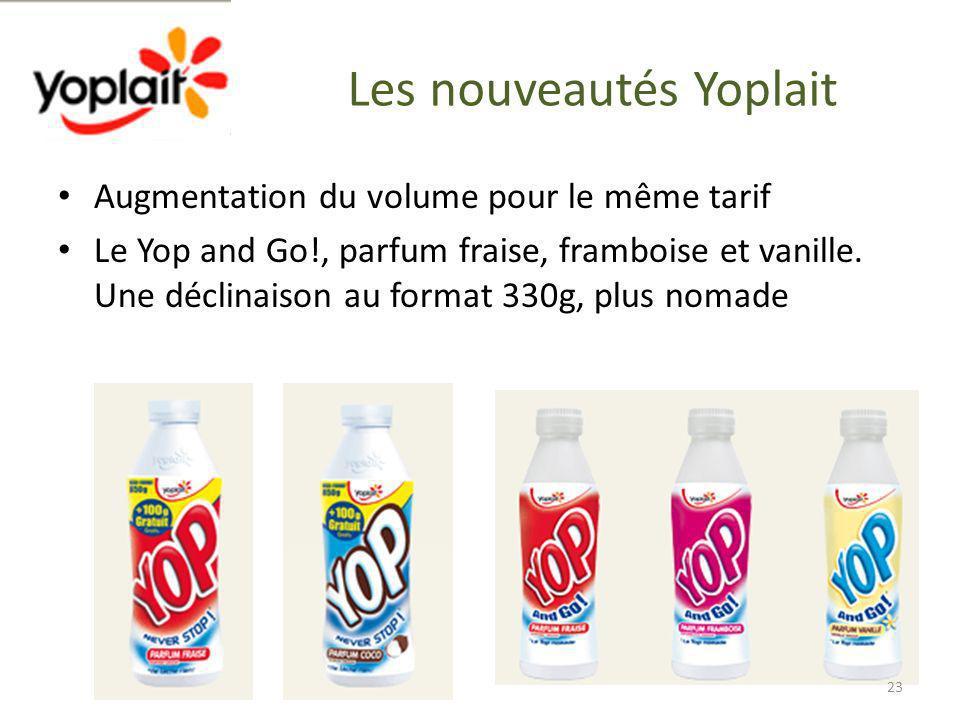 Les nouveautés Yoplait Augmentation du volume pour le même tarif Le Yop and Go!, parfum fraise, framboise et vanille. Une déclinaison au format 330g,