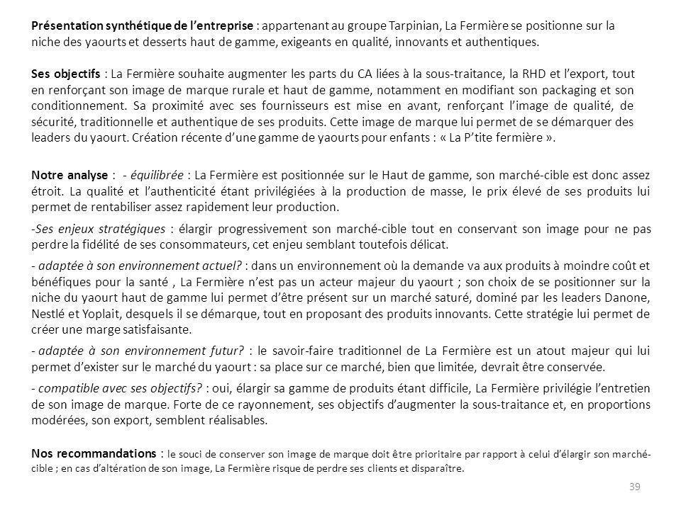 Présentation synthétique de lentreprise : appartenant au groupe Tarpinian, La Fermière se positionne sur la niche des yaourts et desserts haut de gamm