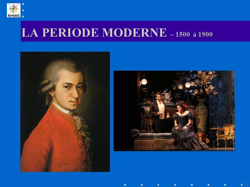 LA PERIODE MODERNE – 1500 à 1900 13