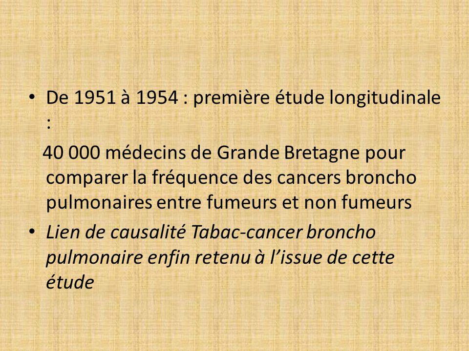 De 1951 à 1954 : première étude longitudinale : 40 000 médecins de Grande Bretagne pour comparer la fréquence des cancers broncho pulmonaires entre fu