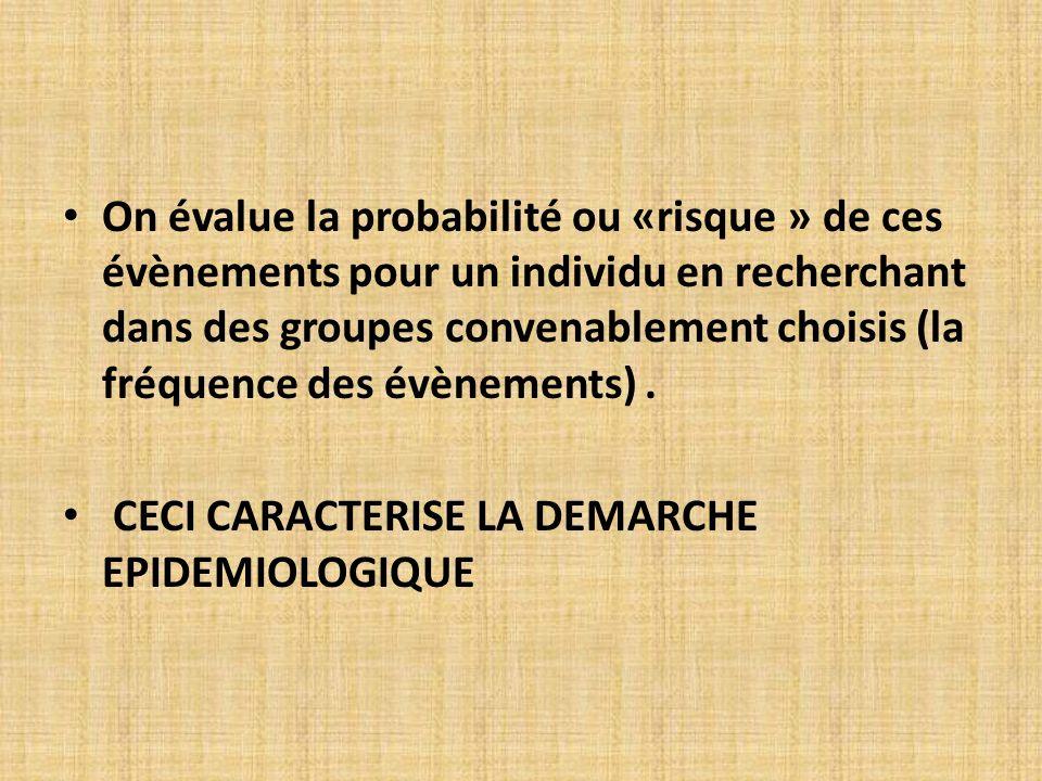 On évalue la probabilité ou «risque » de ces évènements pour un individu en recherchant dans des groupes convenablement choisis (la fréquence des évèn