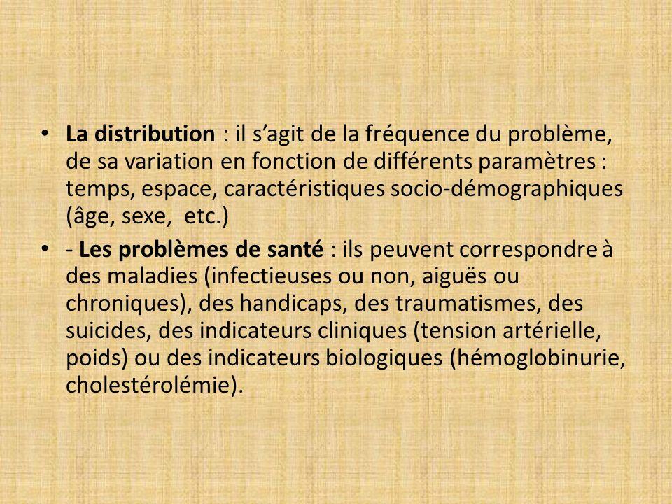 La distribution : il sagit de la fréquence du problème, de sa variation en fonction de différents paramètres : temps, espace, caractéristiques socio-d