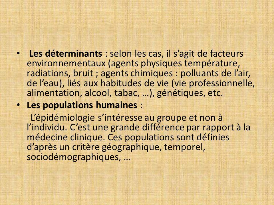 Les déterminants : selon les cas, il sagit de facteurs environnementaux (agents physiques température, radiations, bruit ; agents chimiques : polluant