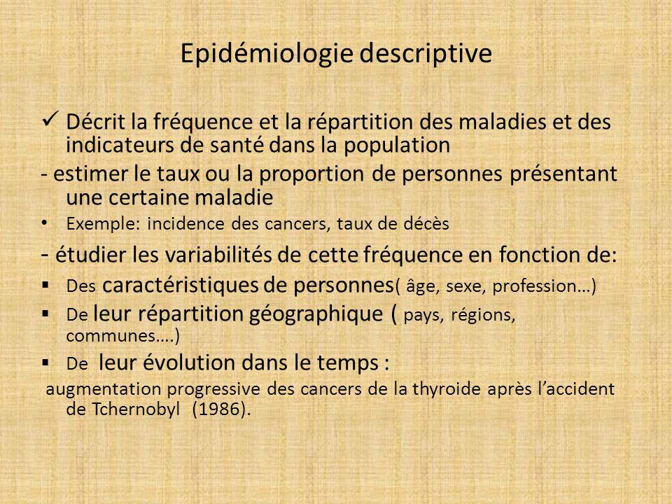 Epidémiologie descriptive Décrit la fréquence et la répartition des maladies et des indicateurs de santé dans la population - estimer le taux ou la pr