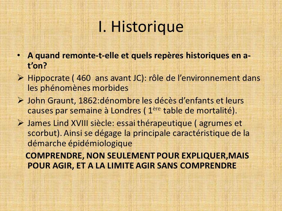 I. Historique A quand remonte-t-elle et quels repères historiques en a- ton? Hippocrate ( 460 ans avant JC): rôle de lenvironnement dans les phénomène