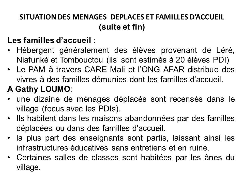 SITUATION DES MENAGES DEPLACES ET FAMILLES DACCUEIL (suite et fin) Les familles daccueil : Hébergent généralement des élèves provenant de Léré, Niafun