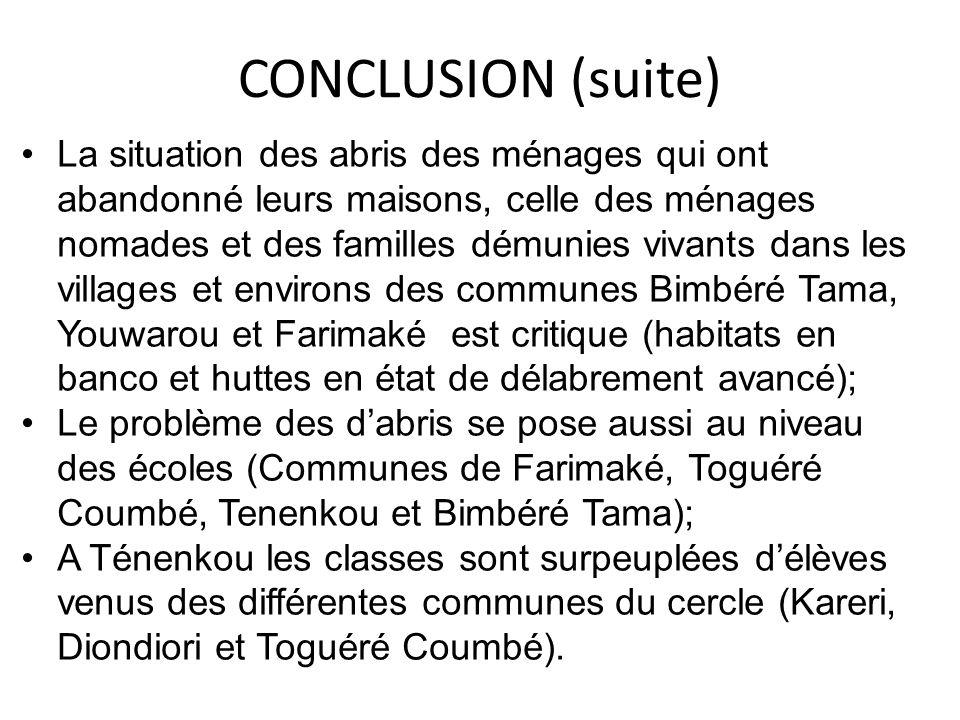 CONCLUSION (suite) La situation des abris des ménages qui ont abandonné leurs maisons, celle des ménages nomades et des familles démunies vivants dans