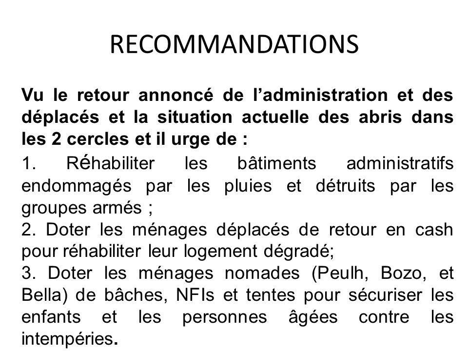 RECOMMANDATIONS Vu le retour annoncé de ladministration et des déplacés et la situation actuelle des abris dans les 2 cercles et il urge de : 1. R é h