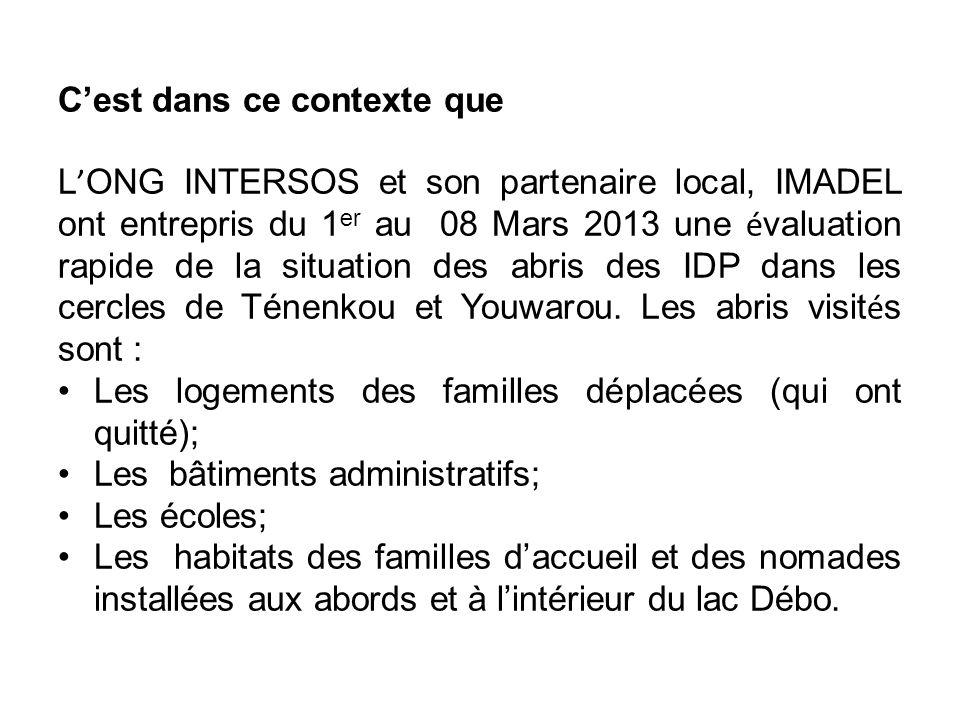 Cest dans ce contexte que L ONG INTERSOS et son partenaire local, IMADEL ont entrepris du 1 er au 08 Mars 2013 une é valuation rapide de la situation