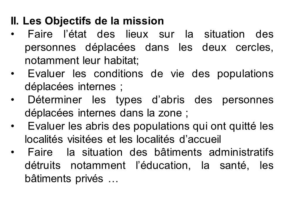 . II. Les Objectifs de la mission Faire létat des lieux sur la situation des personnes déplacées dans les deux cercles, notamment leur habitat; Evalue