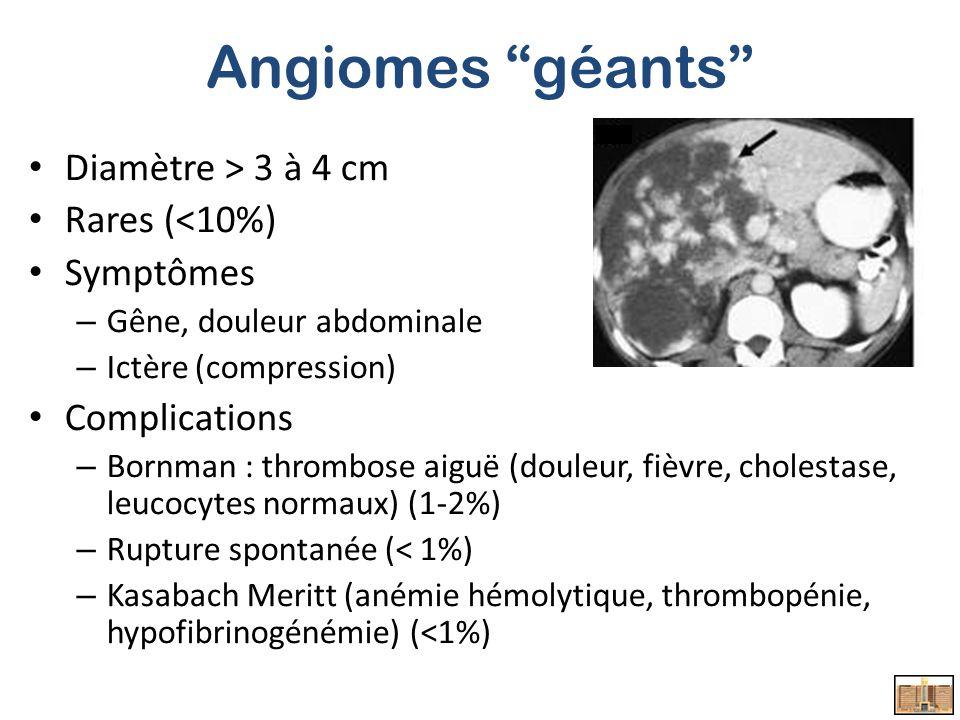 Angiomes géants Diamètre > 3 à 4 cm Rares (<10%) Symptômes – Gêne, douleur abdominale – Ictère (compression) Complications – Bornman : thrombose aiguë (douleur, fièvre, cholestase, leucocytes normaux) (1-2%) – Rupture spontanée (< 1%) – Kasabach Meritt (anémie hémolytique, thrombopénie, hypofibrinogénémie) (<1%)