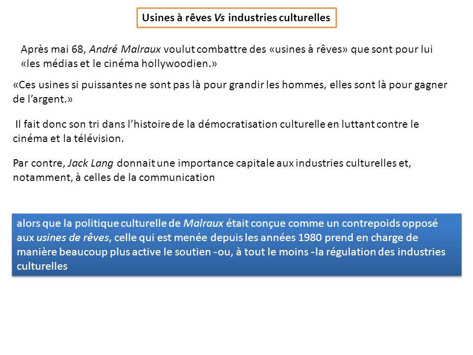 Usines à rêves Vs industries culturelles Après mai 68, André Malraux voulut combattre des «usines à rêves» que sont pour lui «les médias et le cinéma