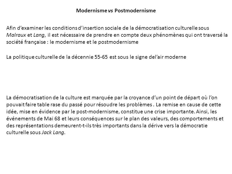 Modernisme vs Postmodernisme Afin dexaminer les conditions dinsertion sociale de la démocratisation culturelle sous Malraux et Lang, il est nécessaire