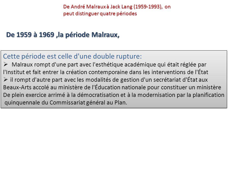 Le ministre Jacques Duhamel lance, en rupture, une politique de développement culturel globale, interdisciplinaire et interministérielle, tout en construisant une administration libérale et pluraliste De André Malraux à Jack Lang (1959-1993), on peut distinguer quatre périodes De 1971 à 1973, Jacques Duhamel