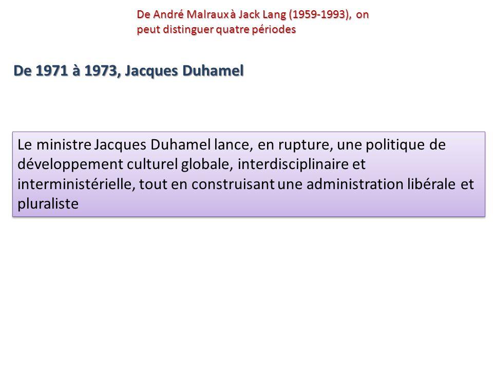 Le ministre Jacques Duhamel lance, en rupture, une politique de développement culturel globale, interdisciplinaire et interministérielle, tout en cons