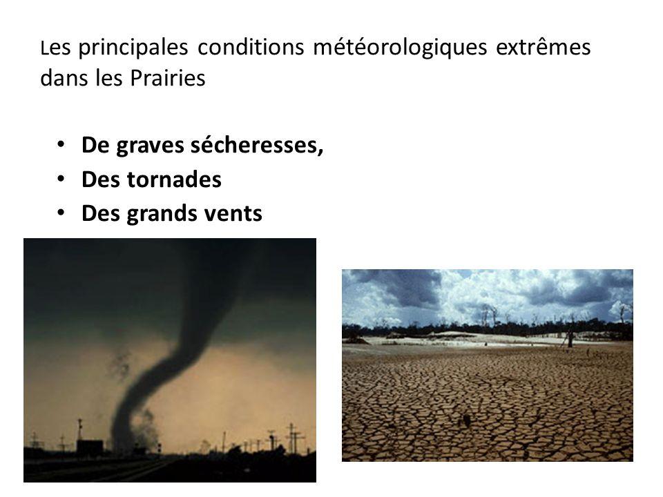 L es principales conditions météorologiques extrêmes dans les Prairies De graves sécheresses, Des tornades Des grands vents