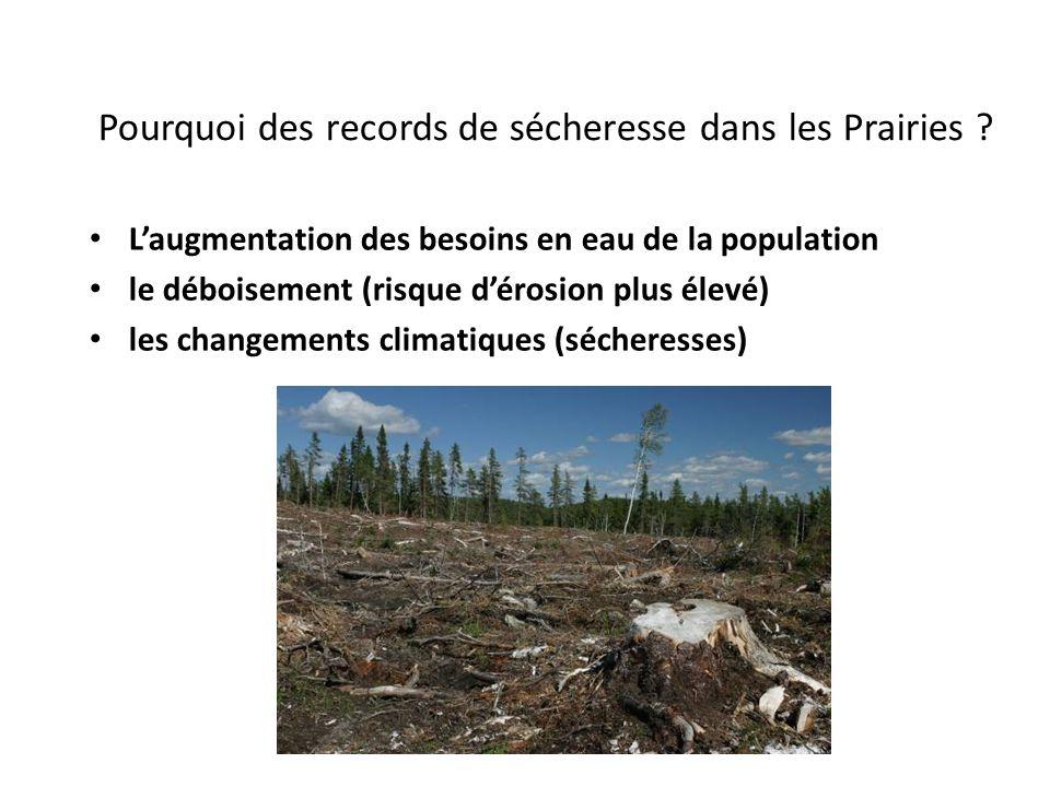 Pourquoi des records de sécheresse dans les Prairies ? Laugmentation des besoins en eau de la population le déboisement (risque dérosion plus élevé) l