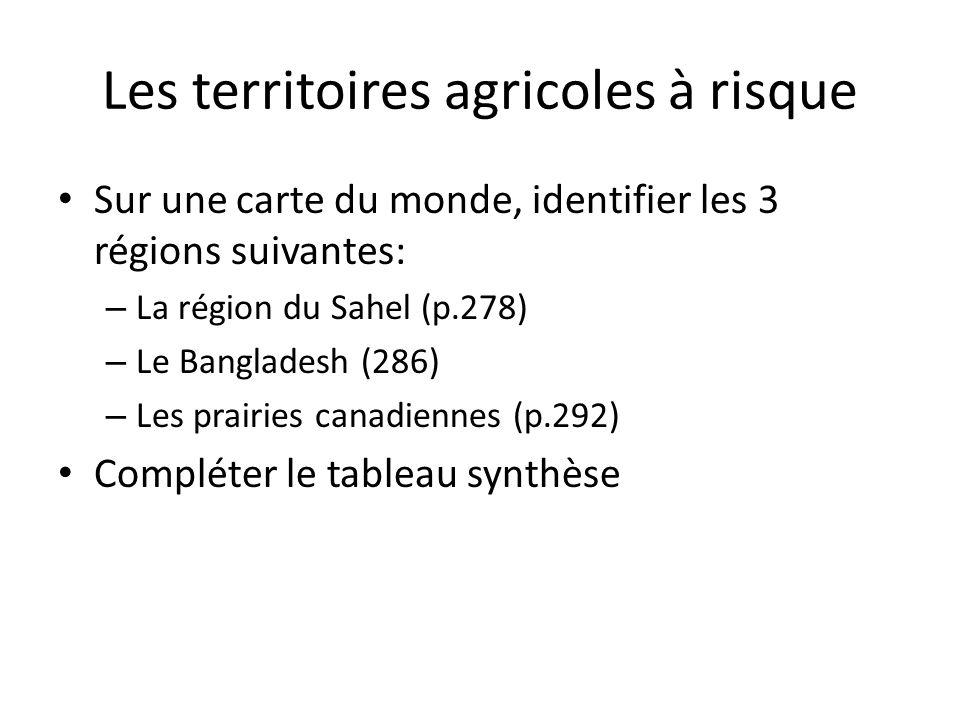 Les territoires agricoles à risque Les prairies canadiennesLa région du SahelLes terres agricoles du Bangladesh Pays concernés Population Principaux produits cultivés Principaux risques qui menacent la région Conséquences possibles