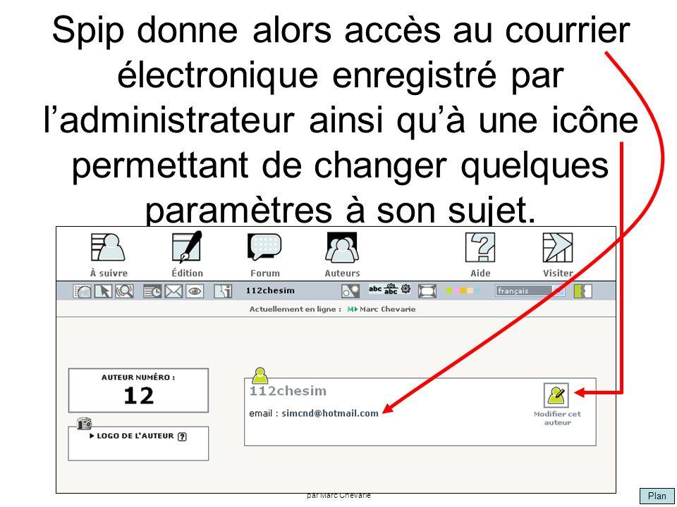 Plan par Marc Chevarie Spip donne alors accès au courrier électronique enregistré par ladministrateur ainsi quà une icône permettant de changer quelques paramètres à son sujet.