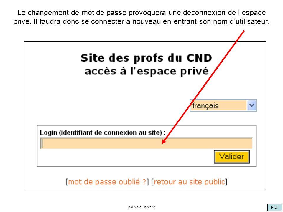 Plan par Marc Chevarie Le changement de mot de passe provoquera une déconnexion de lespace privé.