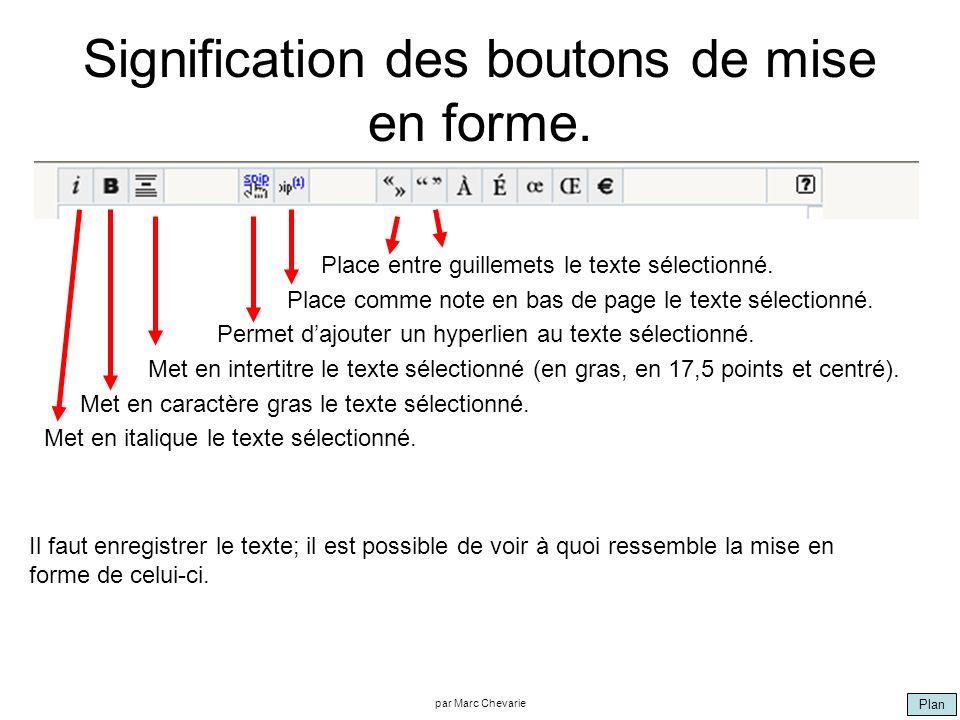 Plan par Marc Chevarie Signification des boutons de mise en forme. Place entre guillemets le texte sélectionné. Place comme note en bas de page le tex