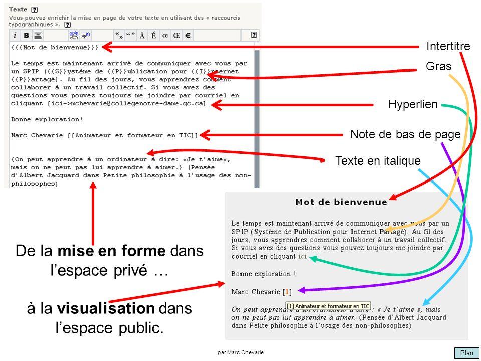 Plan par Marc Chevarie De la mise en forme dans lespace privé … à la visualisation dans lespace public. Intertitre Gras Hyperlien Note de bas de page