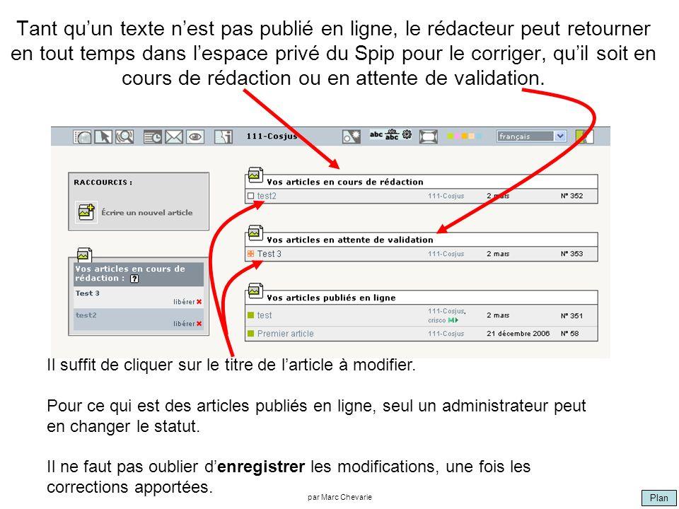 Plan par Marc Chevarie Tant quun texte nest pas publié en ligne, le rédacteur peut retourner en tout temps dans lespace privé du Spip pour le corriger, quil soit en cours de rédaction ou en attente de validation.