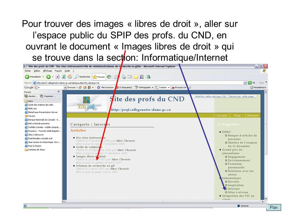 Plan par Marc Chevarie Pour trouver des images « libres de droit », aller sur lespace public du SPIP des profs. du CND, en ouvrant le document « Image
