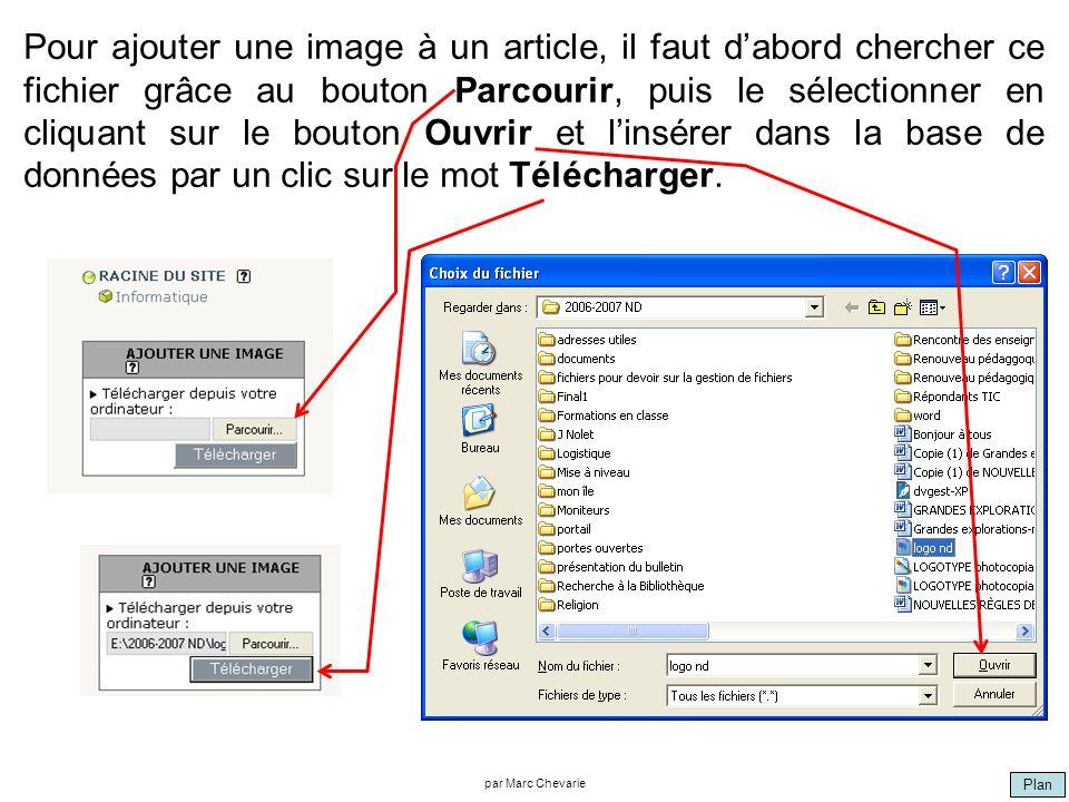 Plan par Marc Chevarie Pour ajouter une image à un article, il faut dabord chercher ce fichier grâce au bouton Parcourir, puis le sélectionner en cliquant sur le bouton Ouvrir et linsérer dans la base de données par un clic sur le mot Télécharger.