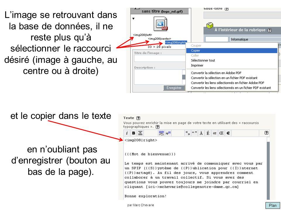 Plan par Marc Chevarie Limage se retrouvant dans la base de données, il ne reste plus quà sélectionner le raccourci désiré (image à gauche, au centre ou à droite) et le copier dans le texte en noubliant pas denregistrer (bouton au bas de la page).