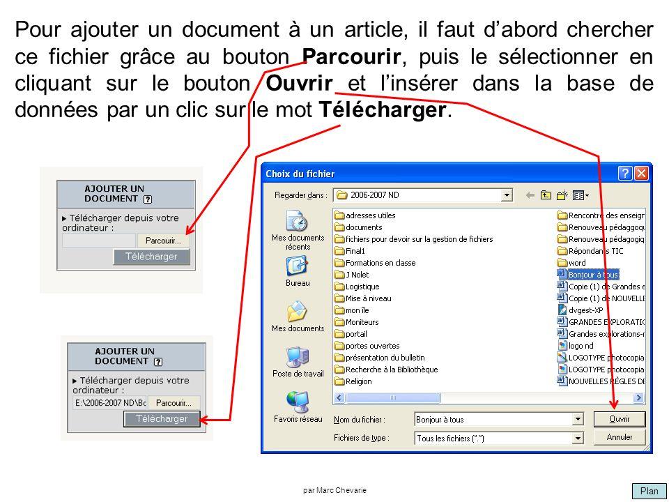 Plan par Marc Chevarie Pour ajouter un document à un article, il faut dabord chercher ce fichier grâce au bouton Parcourir, puis le sélectionner en cliquant sur le bouton Ouvrir et linsérer dans la base de données par un clic sur le mot Télécharger.