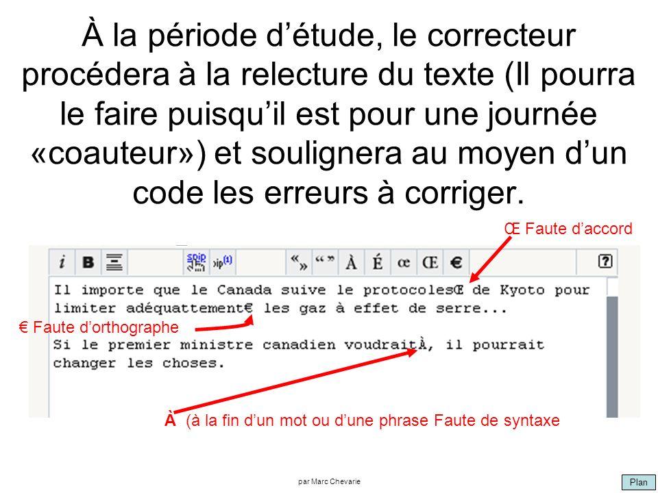 Plan par Marc Chevarie À la période détude, le correcteur procédera à la relecture du texte (Il pourra le faire puisquil est pour une journée «coauteur») et soulignera au moyen dun code les erreurs à corriger.