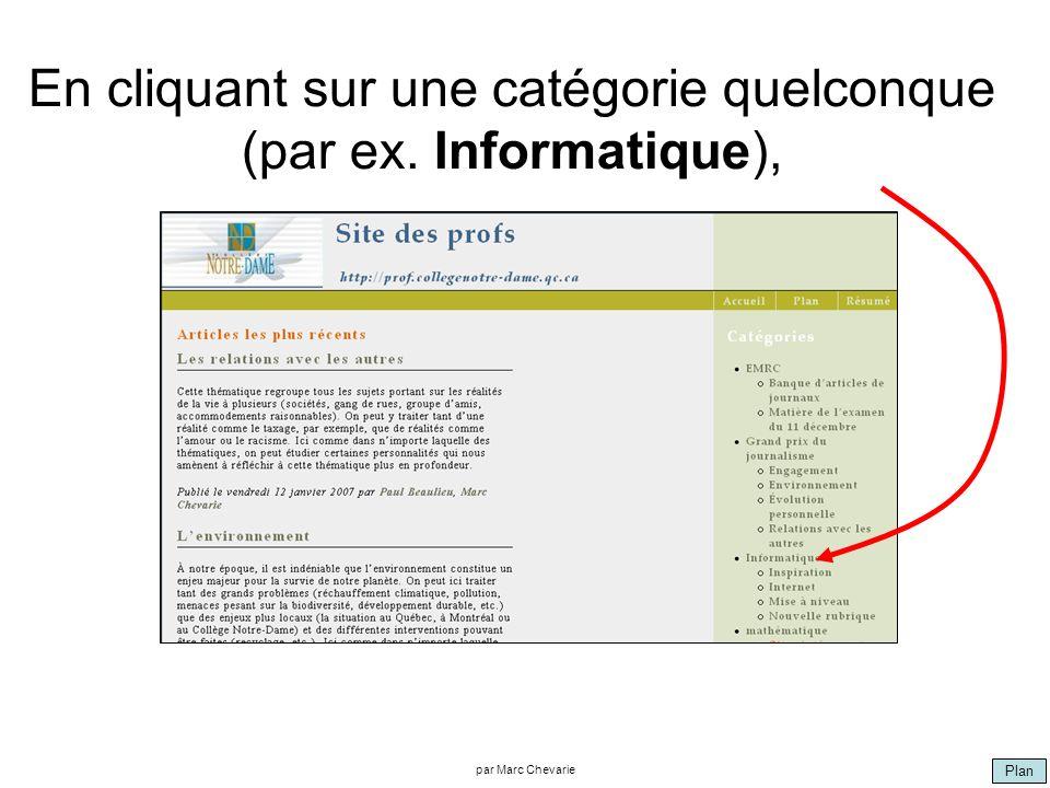 Plan par Marc Chevarie En cliquant sur une catégorie quelconque (par ex. Informatique),