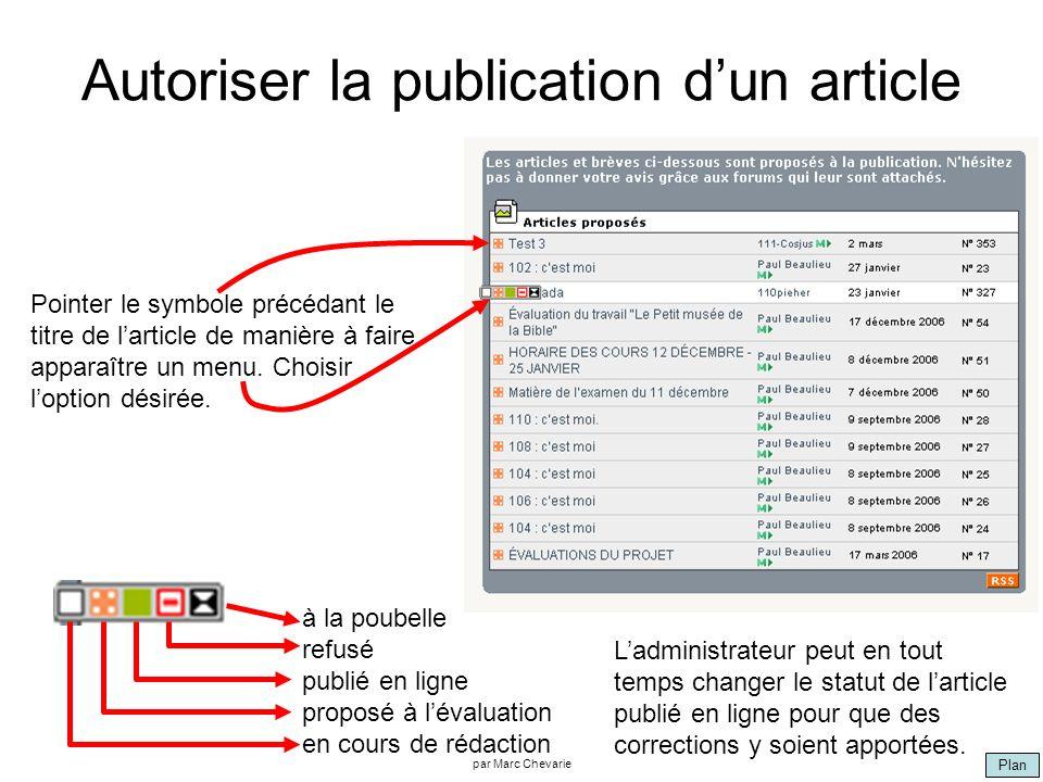 Plan par Marc Chevarie Autoriser la publication dun article Pointer le symbole précédant le titre de larticle de manière à faire apparaître un menu. C